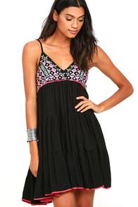 Raga Moroccan Dreams Black Embroidered Dress