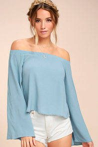 Gentle Stream Light Blue Off-the-Shoulder Top