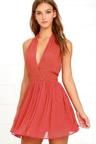 Raga Be Mine Coral Pink Sequin Mini Dress
