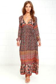 Raga Tuscan Sunset Burgundy Print Maxi Dress