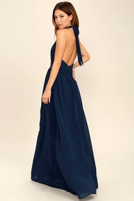 Stop and Stare Navy Blue Halter Maxi Dress