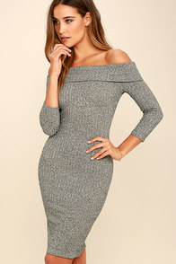 Too Good Grey Off-the-Shoulder Sweater Dress
