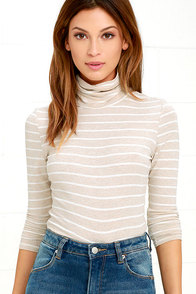 Show Your Stripes Beige Striped Turtleneck Top
