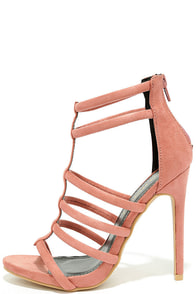Trend Tracker Blush Suede Caged Heels
