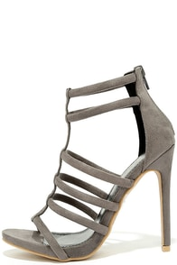 Trend Tracker Grey Suede Caged Heels