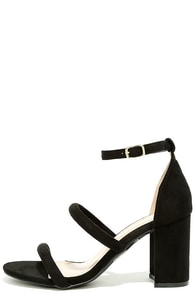 In the Now Black Suede Ankle Strap Heels Image