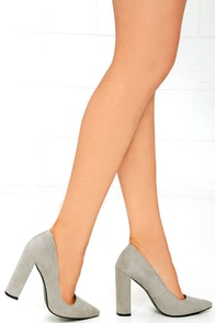 With Honors Grey Suede Pointed Pumps Image