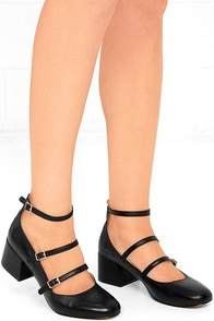 Chinese Laundry Moto Black Leather Ankle Strap Heels