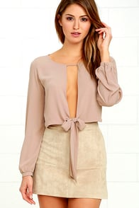 Hanging by a Moment Taupe Long Sleeve Crop Top