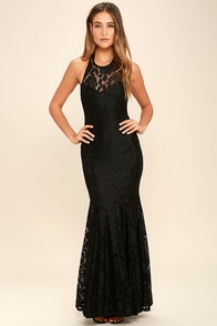 Live Forever Black Lace Maxi Dress