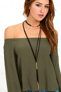 Way to Wow Black and Gold Layered Choker Necklace