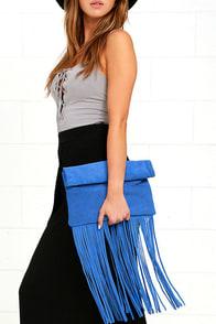 Palomino Cobalt Blue Suede Leather Fringe Clutch