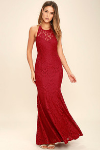 Live Forever Wine Red Lace Maxi Dress