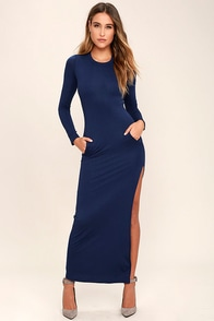 Want It All Navy Blue Long Sleeve Maxi Dress