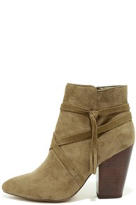 Report Indiana Olive Suede Ankle Booties