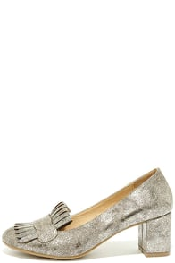 CL by Laundry Anete Shimmer Mica Gold Fringe Pumps Image