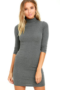 Phenomenal Feeling Grey Long Sleeve Bodycon Dress