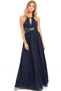 Days Gown By Navy Blue Beaded Maxi Dress