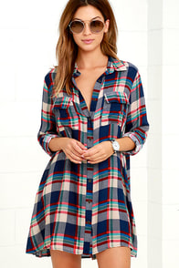 Fireside by Side Red and Navy Blue Plaid Long Sleeve Dress