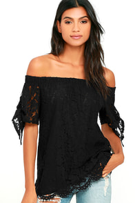 Ethereal View Black Lace Off-the-Shoulder Top