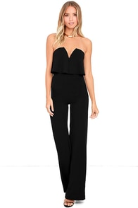 Power of Love Black Strapless Jumpsuit