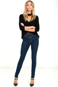 Feel the Rhythm Dark Wash High-Waisted Skinny Jeans