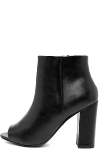 Way Up Black High Heel Peep-Toe Booties