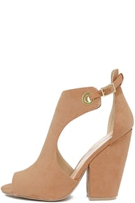 Say Yes Blush Suede Peep-Toe Booties Image
