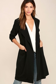 City Sleek Black Trench Coat