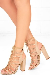 In Rotation Nude Suede Lace-Up Heels Image