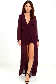 Gone With the Whirlwind Plum Purple Romper