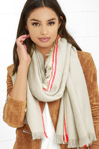 Ocean Morning Red and Grey Striped Scarf