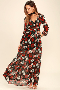Parade of Poppies Black and Red Floral Print Maxi Dress