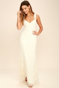 Full Circle Cream Lace Maxi Dress