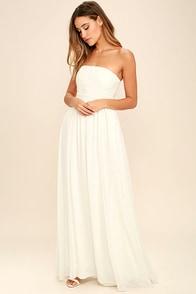 Forever Lovely White Strapless Embroidered Maxi Dress