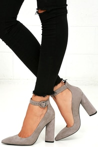 Kendall + Kylie Gloria Light Grey Suede Leather Heels Image