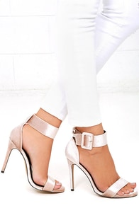 Love and Luck Nude Velvet Ankle Strap Heels