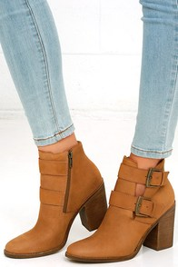 Steve Madden Trevur Cognac Leather High Heel Booties