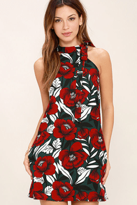 Wild Orchid Red Floral Print Dress