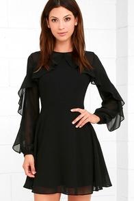 Long Sleeve Lbd Black Dress Mesh Dress Skater Dress