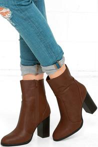 So In Cognac Mid-Calf High Heel Boots