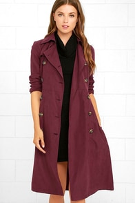 Jack by BB Dakota Wellington Wine Red Trench Coat