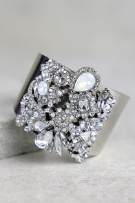 Dreamt of This Silver Rhinestone Cuff Bracelet