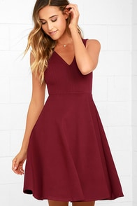 Hello World Wine Red Midi Dress