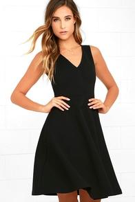 Hello World Black Midi Dress