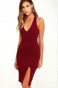 Gathering Glances Burgundy Bodycon Dress