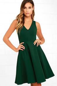 Hello World Dark Green Midi Dress
