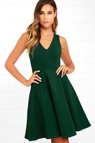 Hello World Dark Green Midi Dress