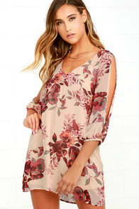 Shifting Dears Beige Floral Print Dress