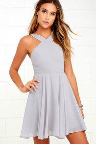 Forevermore Grey Skater Dress